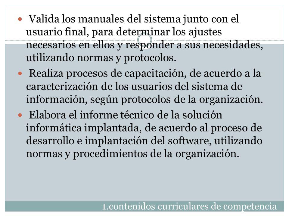 1.contenidos curriculares de competencia Valida los manuales del sistema junto con el usuario final, para determinar los ajustes necesarios en ellos y