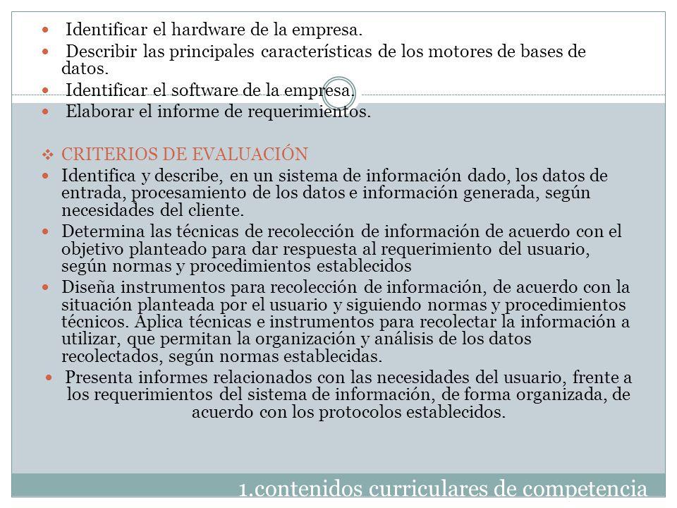 1.contenidos curriculares de competencia Identificar el hardware de la empresa. Describir las principales características de los motores de bases de d
