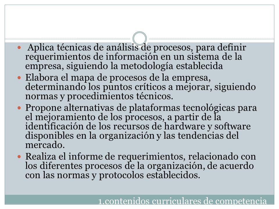 1.contenidos curriculares de competencia Aplica técnicas de análisis de procesos, para definir requerimientos de información en un sistema de la empre