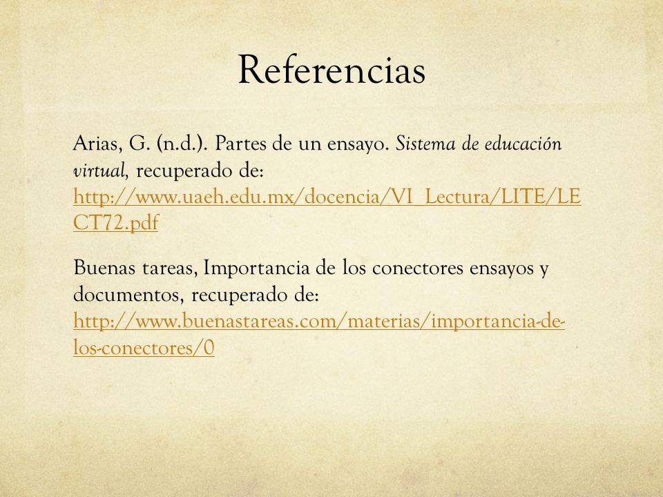Referencias Arias, G.(n.d.). Partes de un ensayo.
