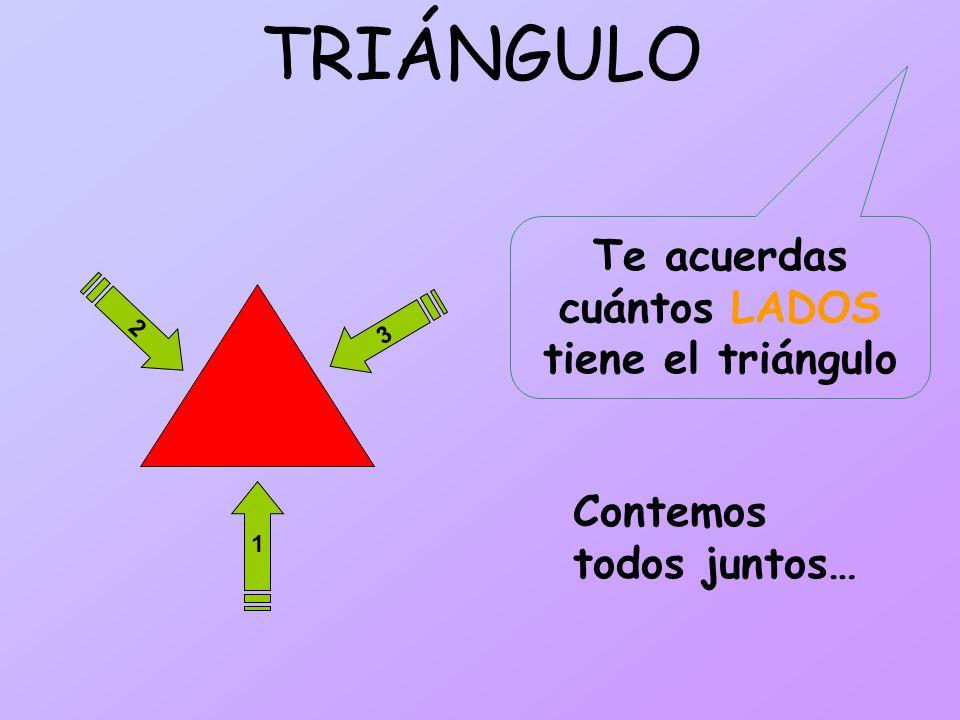 TRIÁNGULO 2 1 3 Te acuerdas cuántos LADOS tiene el triángulo Contemos todos juntos…