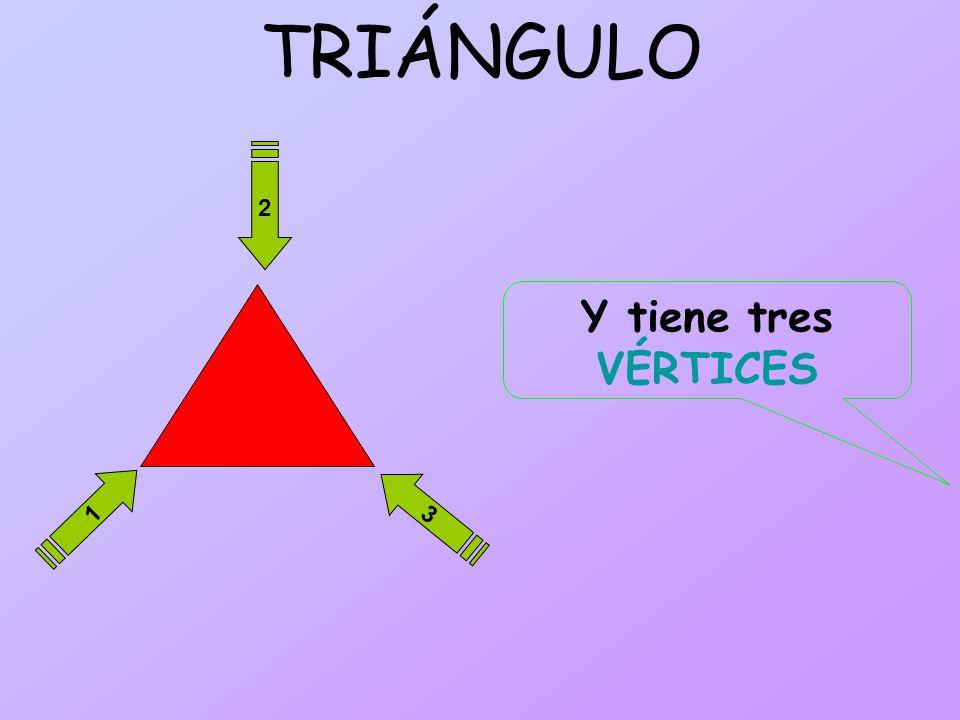 TRIÁNGULO 1 2 3 Y tiene tres VÉRTICES