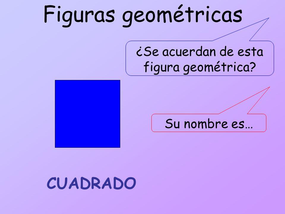 Figuras geométricas ¿Se acuerdan de esta figura geométrica? CUADRADO Su nombre es…