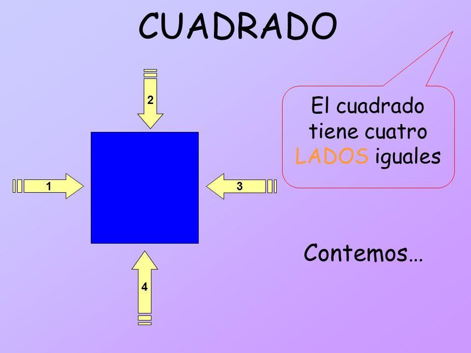 CUADRADO 1 4 2 3 El cuadrado tiene cuatro LADOS iguales Contemos…