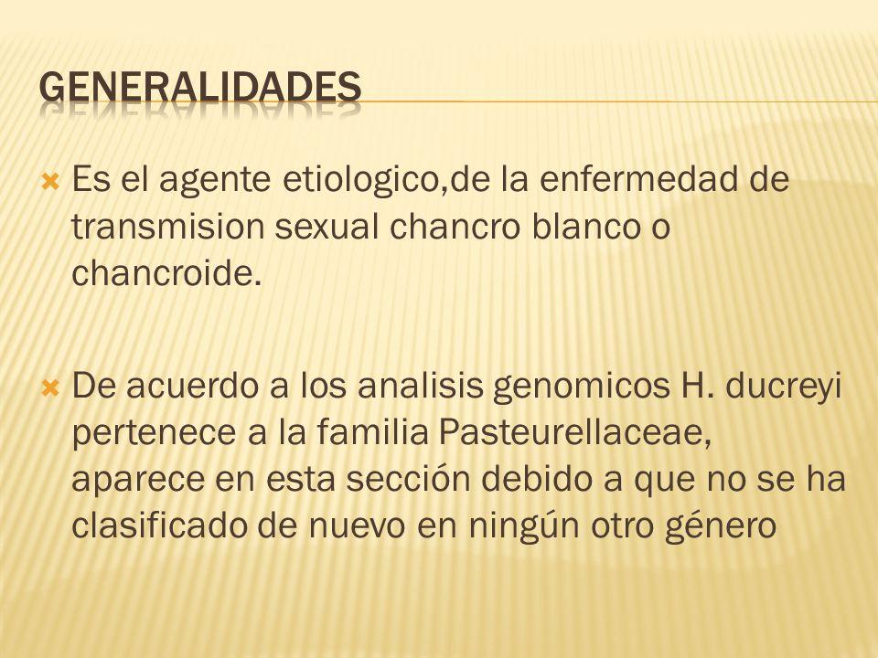 Es el agente etiologico,de la enfermedad de transmision sexual chancro blanco o chancroide.