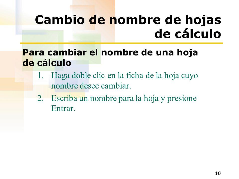 10 Cambio de nombre de hojas de cálculo Para cambiar el nombre de una hoja de cálculo 1.Haga doble clic en la ficha de la hoja cuyo nombre desee cambiar.