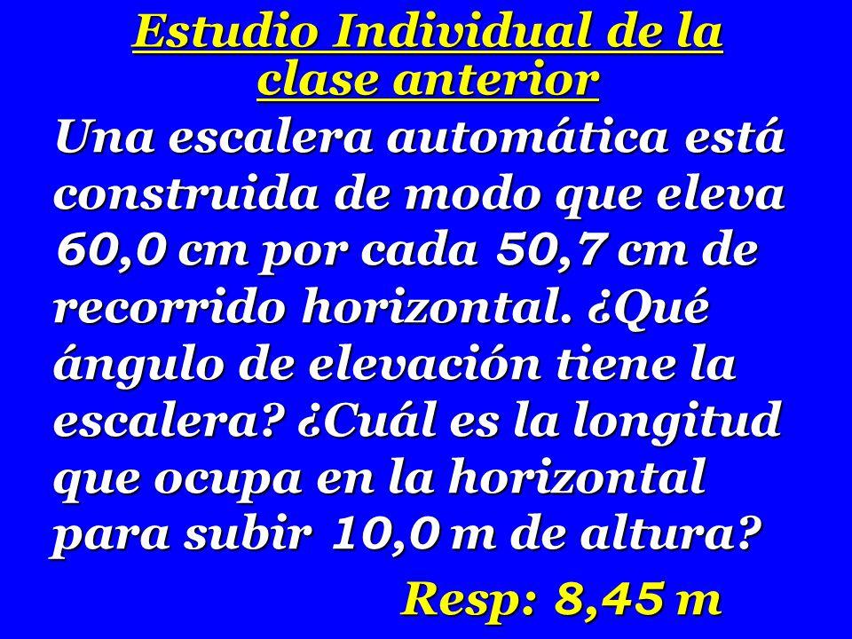 60 50,7 A E B 1 0 m D C  Ángulo de elevación:  tan  = BE AE = 60 50,7 = 1,183  = 49,8 0 luego  = 49,8 0 tan  = CD AD AD = tan  CD = 1,183 10 8,45 m = 8,45 m