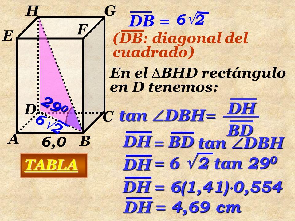 6,0 A B C D E F GH 29 0 4,69 V P = A B h V P = ( 6 ) 2  4,69 A = a 2 V P =168,84 V P = 36  4,69 V P = 1,7  10 2 cm 3 ó 0,17 dm 3