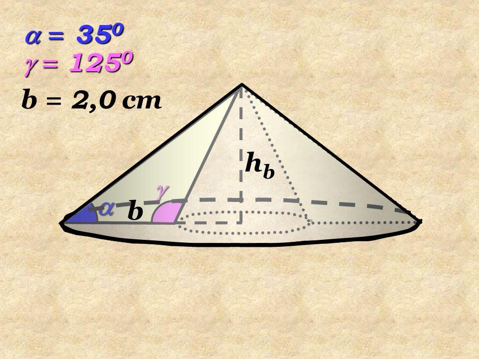   A B C b  = 35 0  = 125 0 b = 2,0 cm D   a En  ABC, por la suma de los ángulos interiores de un triángulo tenemos:  = 180 0 – (  +  )  = 180 0 – 160 0  = 20 0 hbhbhbhb Tenemos que hallar: , , a, r, r' y hb r' r