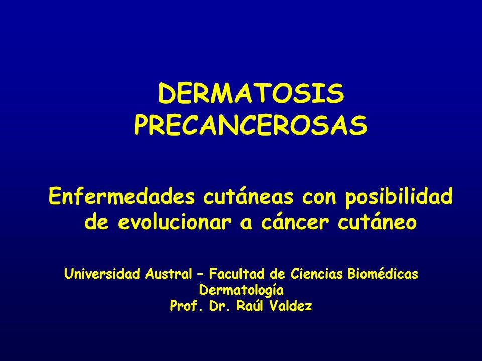 DERMATOSIS PRECANCEROSAS Enfermedades cutáneas con posibilidad de evolucionar a cáncer cutáneo Universidad Austral – Facultad de Ciencias Biomédicas D
