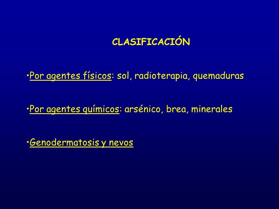 CLASIFICACIÓN Por agentes físicos: sol, radioterapia, quemaduras Por agentes químicos: arsénico, brea, minerales Genodermatosis y nevos