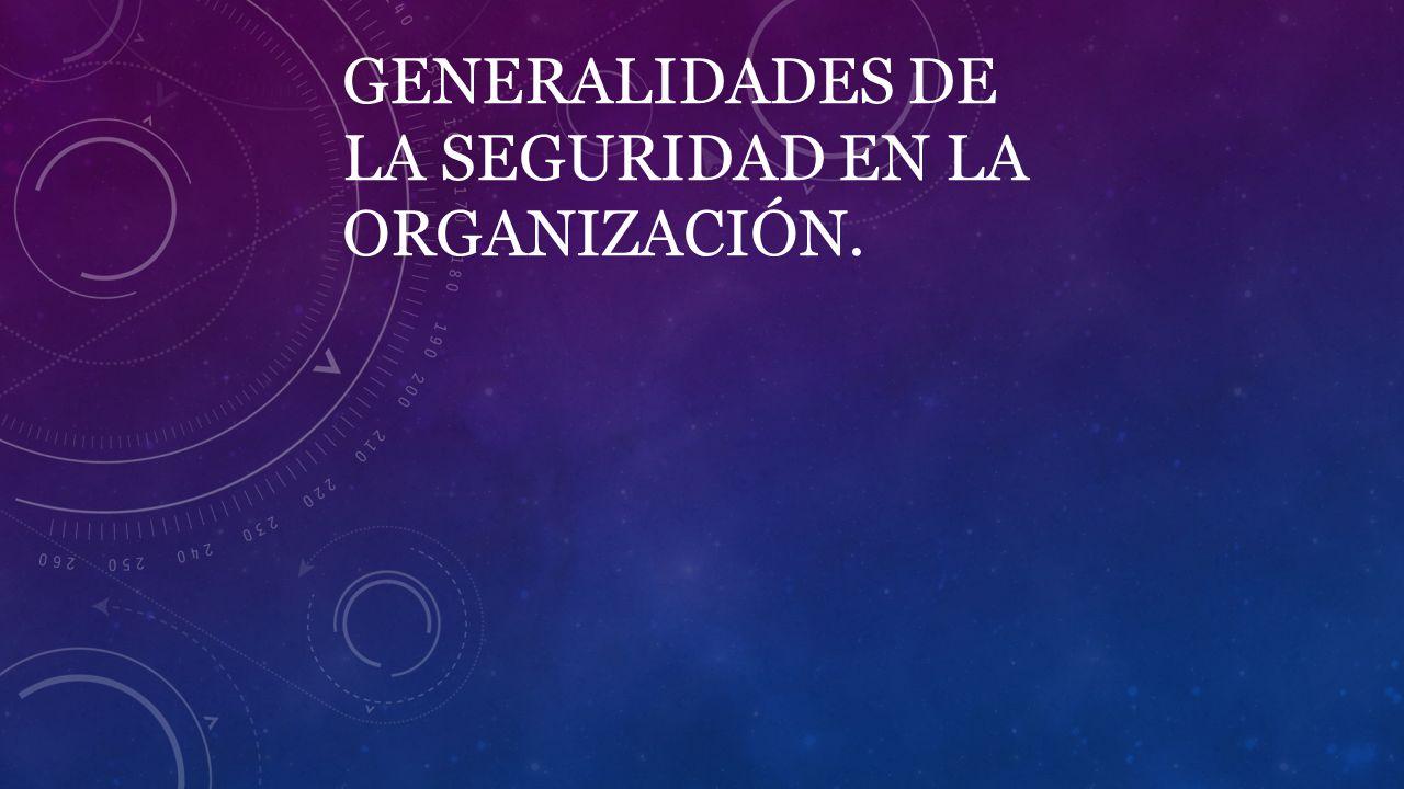 GENERALIDADES DE LA SEGURIDAD EN LA ORGANIZACIÓN.