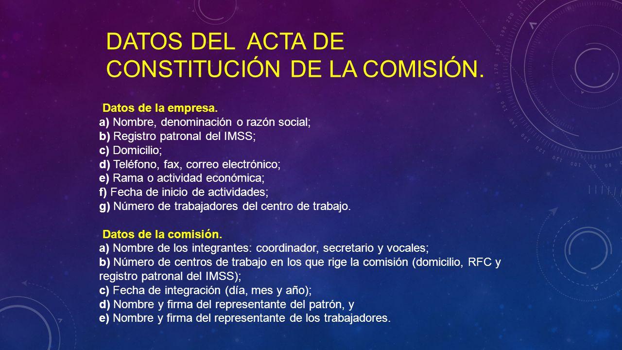 DATOS DEL ACTA DE CONSTITUCIÓN DE LA COMISIÓN. Datos de la empresa.