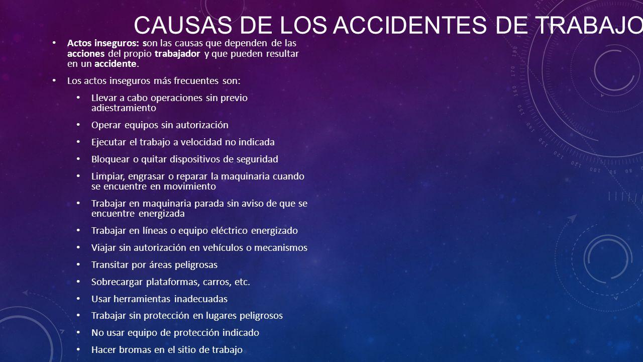 CAUSAS DE LOS ACCIDENTES DE TRABAJO Actos inseguros: son las causas que dependen de las acciones del propio trabajador y que pueden resultar en un accidente.