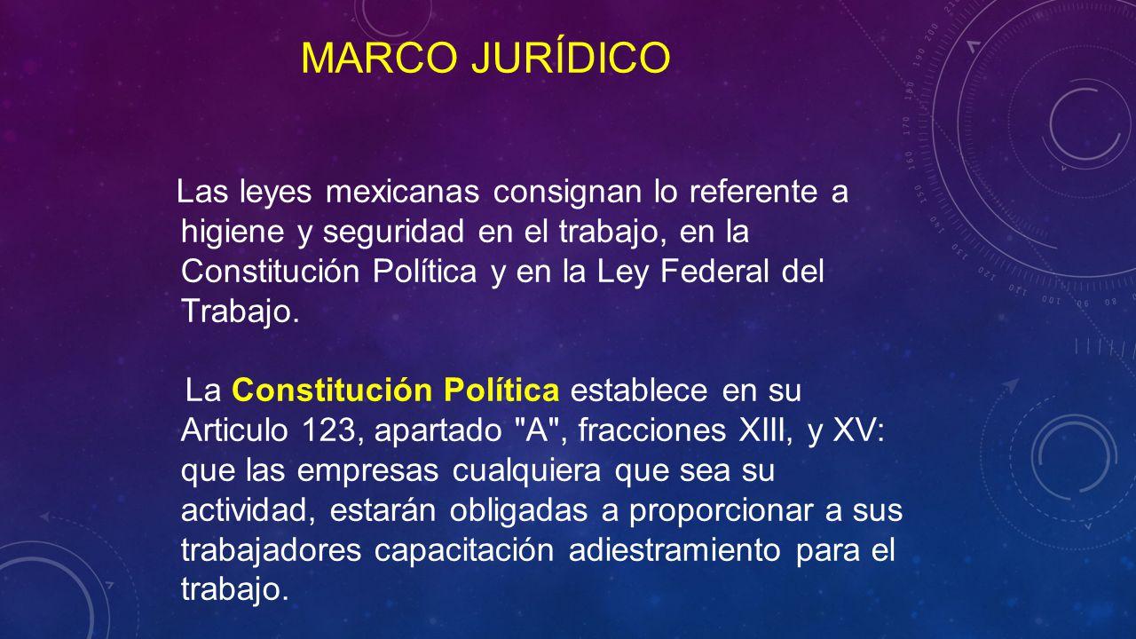Las leyes mexicanas consignan lo referente a higiene y seguridad en el trabajo, en la Constitución Política y en la Ley Federal del Trabajo.