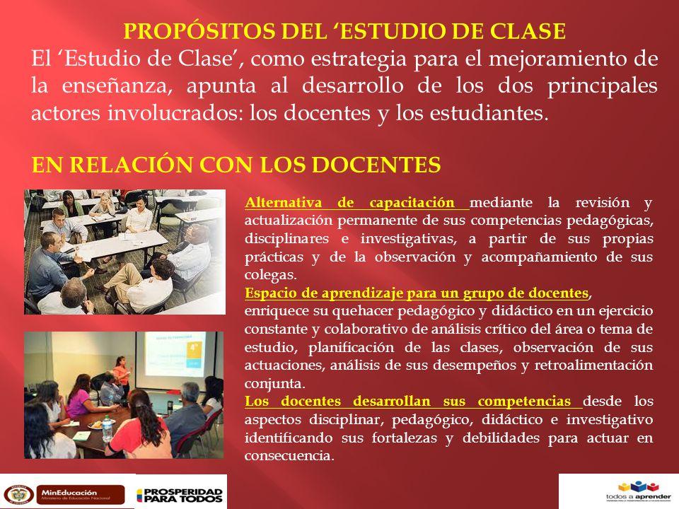 PROPÓSITOS DEL 'ESTUDIO DE CLASE El 'Estudio de Clase', como estrategia para el mejoramiento de la enseñanza, apunta al desarrollo de los dos principales actores involucrados: los docentes y los estudiantes.