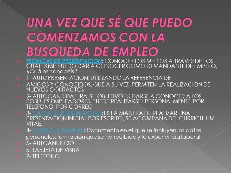  TECNICAS DE PRESENTACION: CONOCER LOS MEDIOS A TRAVES DE LOS CUALES ME PUEDO DAR A CONOCER COMO DEMANDANTE DE EMPLEO, ¿Cuáles conocéis.