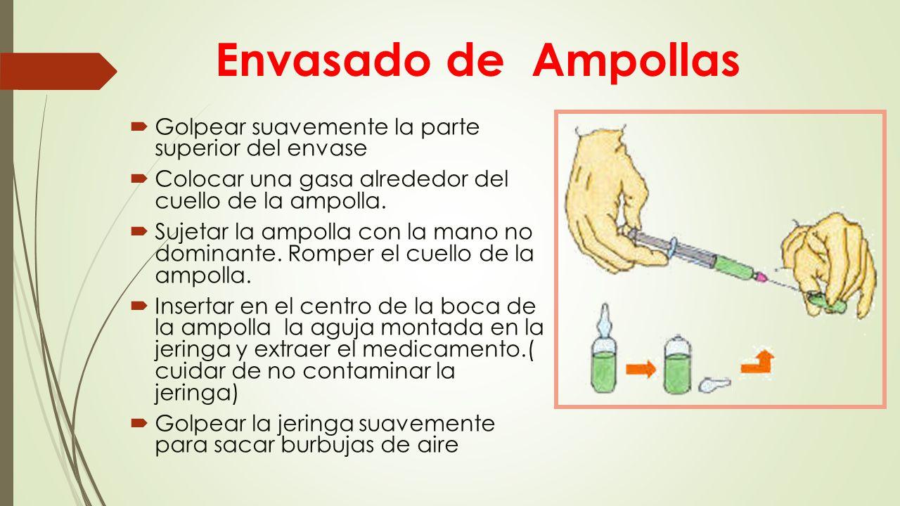 Envasado de Ampollas  Golpear suavemente la parte superior del envase  Colocar una gasa alrededor del cuello de la ampolla.