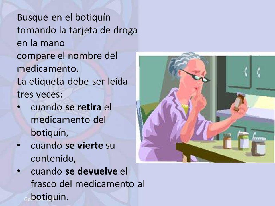 Busque en el botiquín tomando la tarjeta de droga en la mano compare el nombre del medicamento.