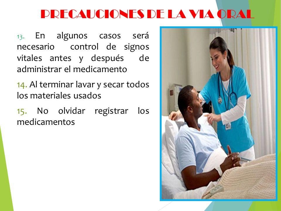 PRECAUCIONES DE LA VIA ORAL 13. En algunos casos será necesario control de signos vitales antes y después de administrar el medicamento 14. Al termina