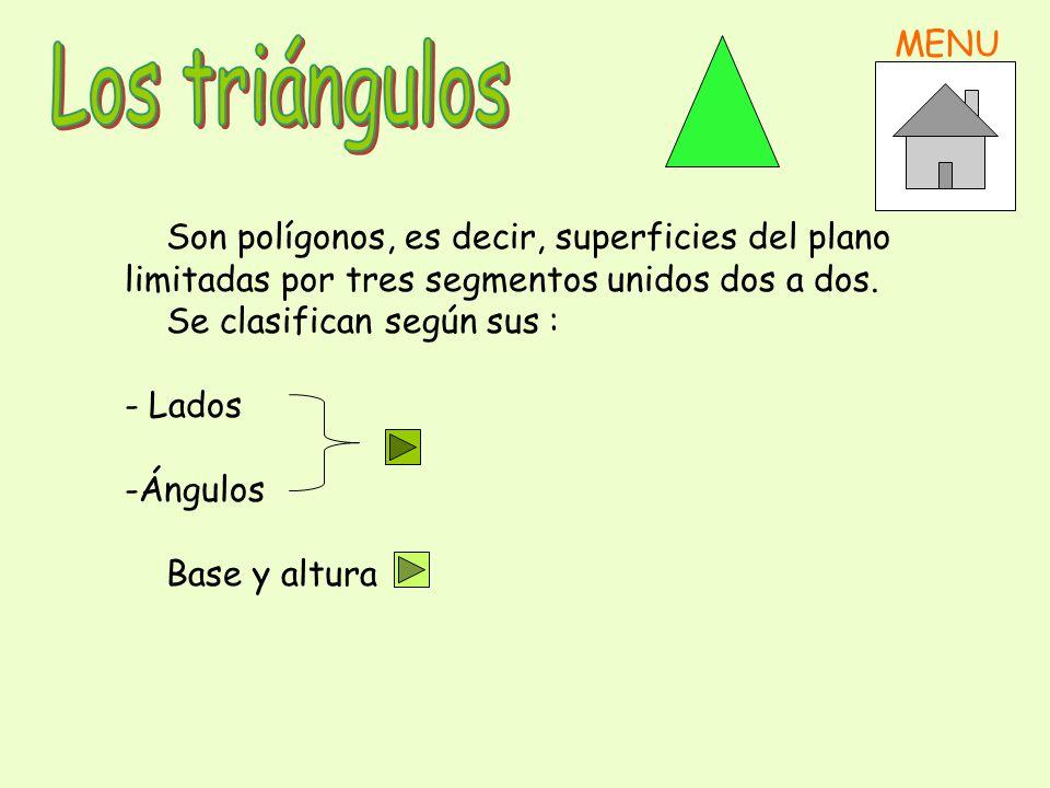 Son polígonos, es decir, superficies del plano limitadas por tres segmentos unidos dos a dos.
