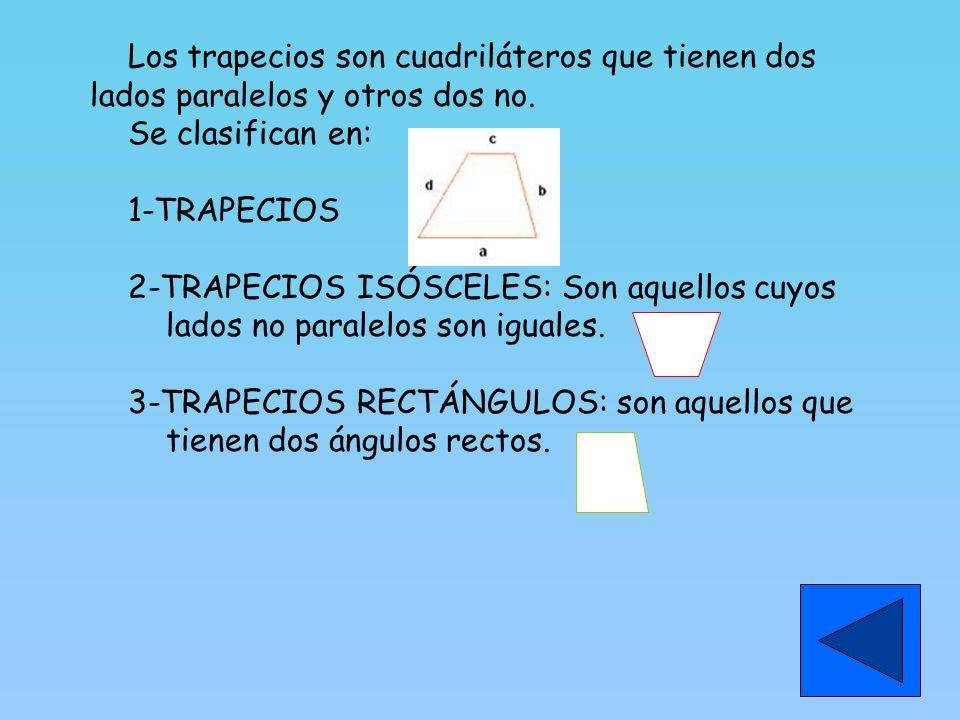 Los trapecios son cuadriláteros que tienen dos lados paralelos y otros dos no.