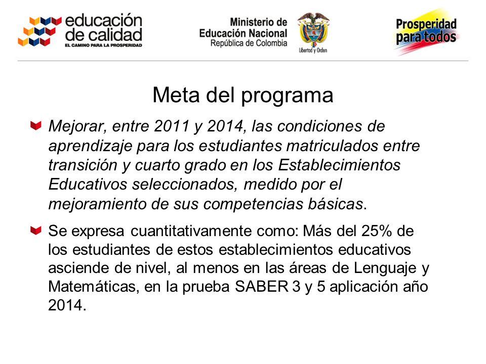 Meta del programa Mejorar, entre 2011 y 2014, las condiciones de aprendizaje para los estudiantes matriculados entre transición y cuarto grado en los Establecimientos Educativos seleccionados, medido por el mejoramiento de sus competencias básicas.