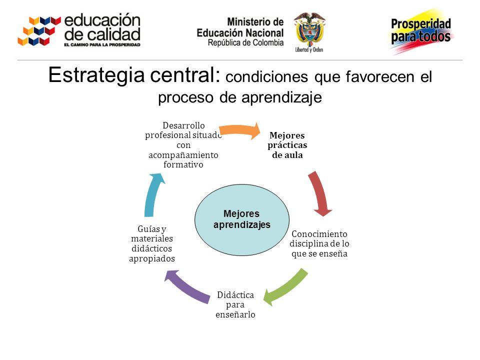 Estrategia central: condiciones que favorecen el proceso de aprendizaje Mejores prácticas de aula Conocimiento disciplina de lo que se enseña Didáctica para enseñarlo Guías y materiales didácticos apropiados Desarrollo profesional situado con acompañamiento formativo Mejores aprendizajes