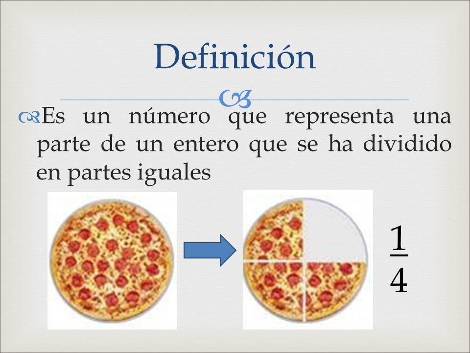  Es un número que representa una parte de un entero que se ha dividido en partes iguales Definición 1414