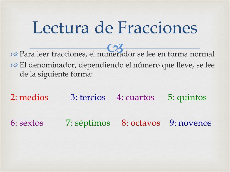   Para leer fracciones, el numerador se lee en forma normal  El denominador, dependiendo el número que lleve, se lee de la siguiente forma: 2: medi