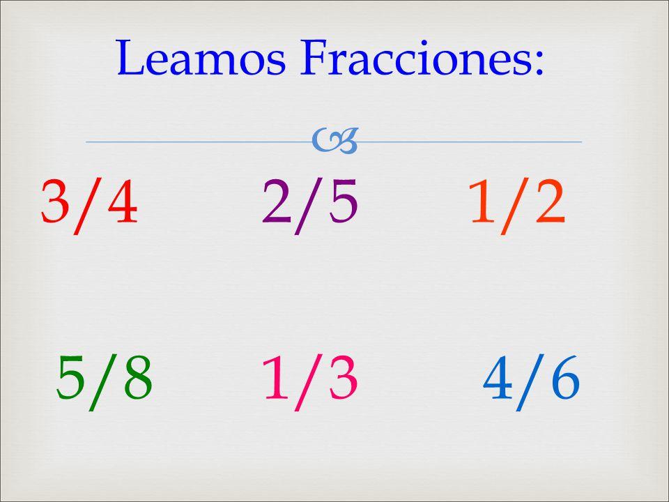  3/4 2/5 1/2 5/8 1/3 4/6 Leamos Fracciones: