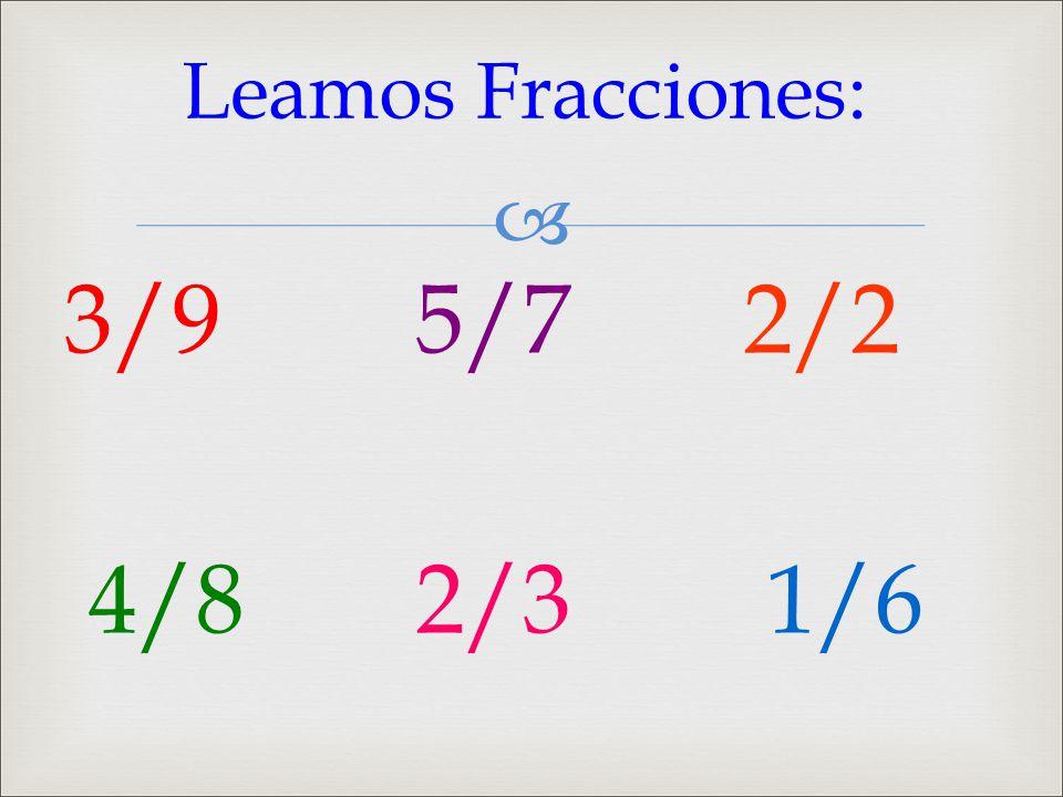  3/9 5/7 2/2 4/8 2/3 1/6 Leamos Fracciones: