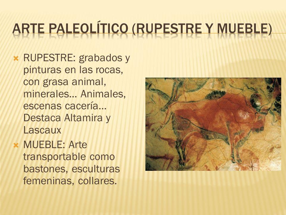  RUPESTRE: grabados y pinturas en las rocas, con grasa animal, minerales...