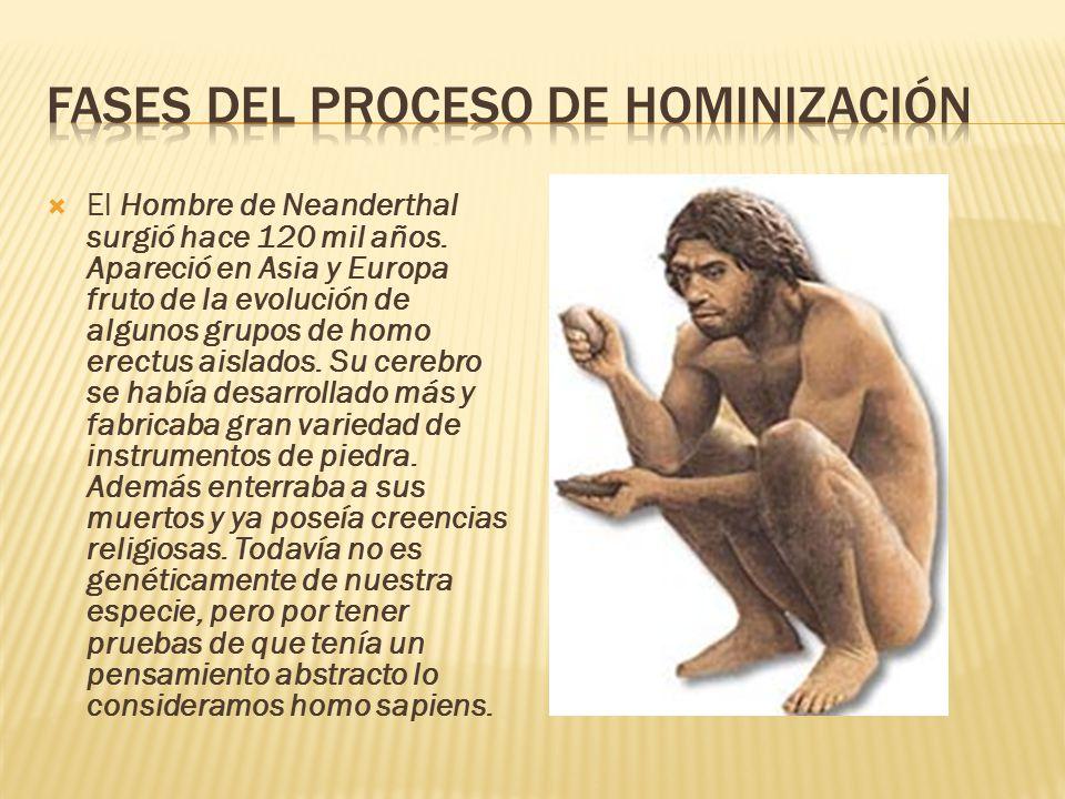  El Hombre de Neanderthal surgió hace 120 mil años.