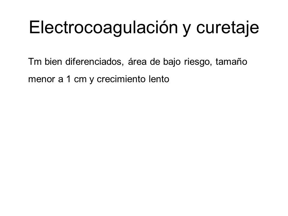 Electrocoagulación y curetaje Tm bien diferenciados, área de bajo riesgo, tamaño menor a 1 cm y crecimiento lento