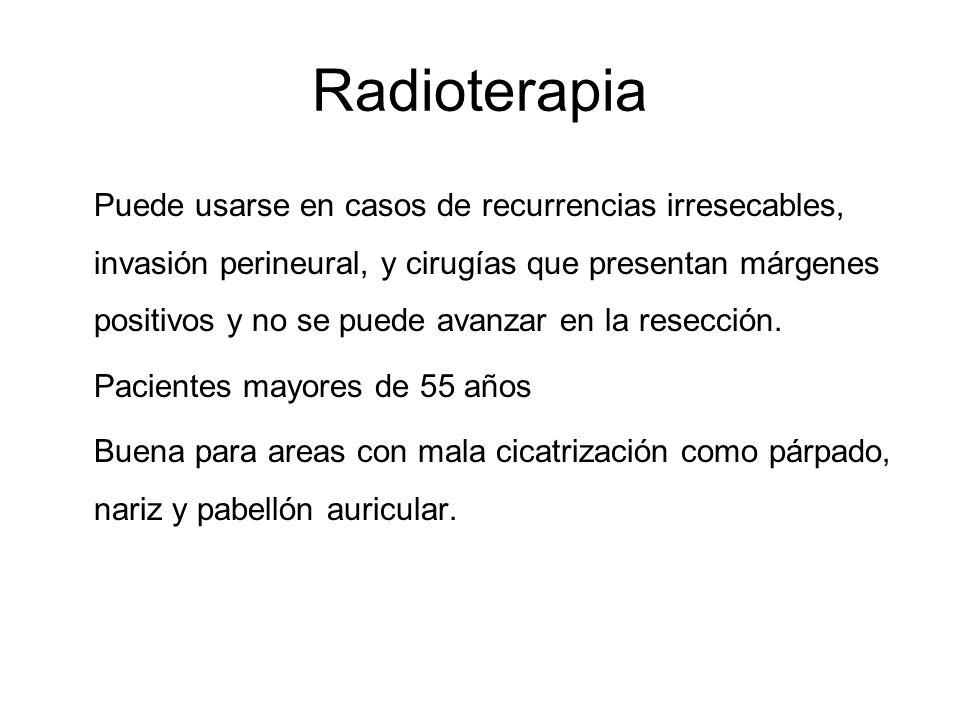 Radioterapia Puede usarse en casos de recurrencias irresecables, invasión perineural, y cirugías que presentan márgenes positivos y no se puede avanza