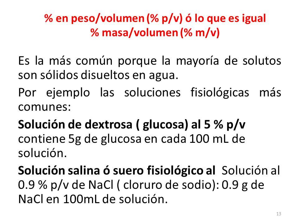 % p/v = g de soluto x 100 mL de solución Ejercicios: 1.