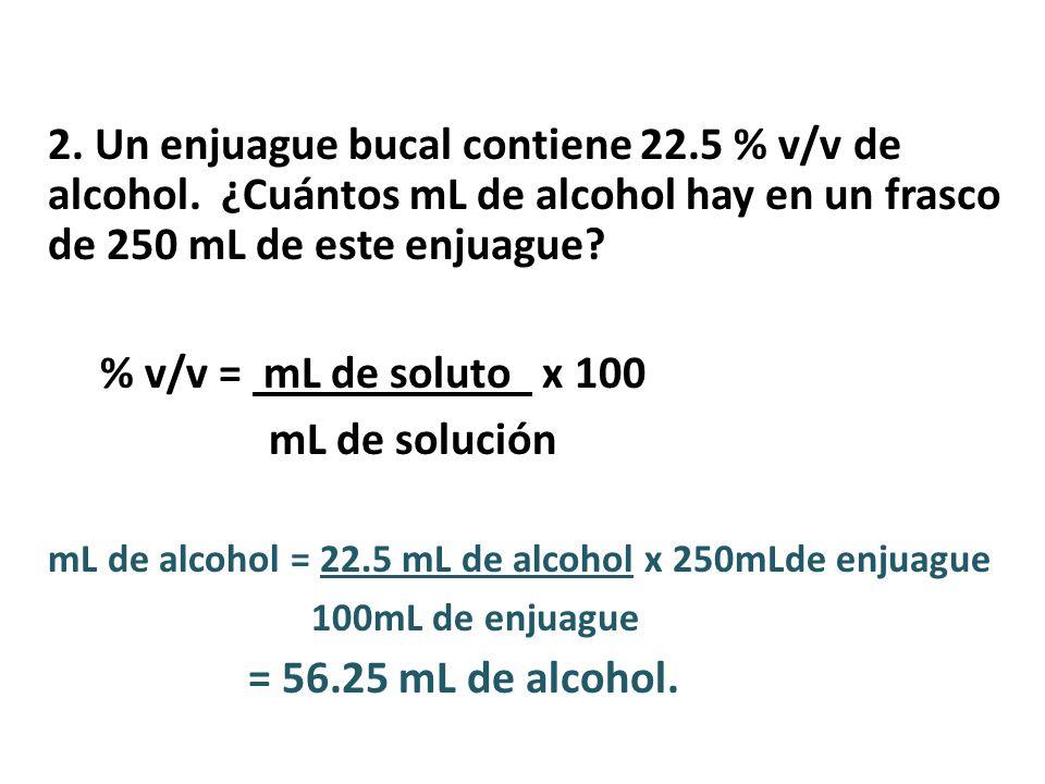 2.Un enjuague bucal contiene 22.5 % v/v de alcohol.