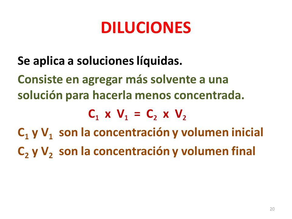 1.Se diluyen 70 mL de una solución al 5.4 % p/v hasta obtener 250mL de solución.