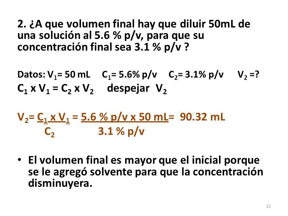 Forma de expresar concentraciones muy pequeñas de soluto PARTES POR MILLÓN (se usa para contaminantes) 1.