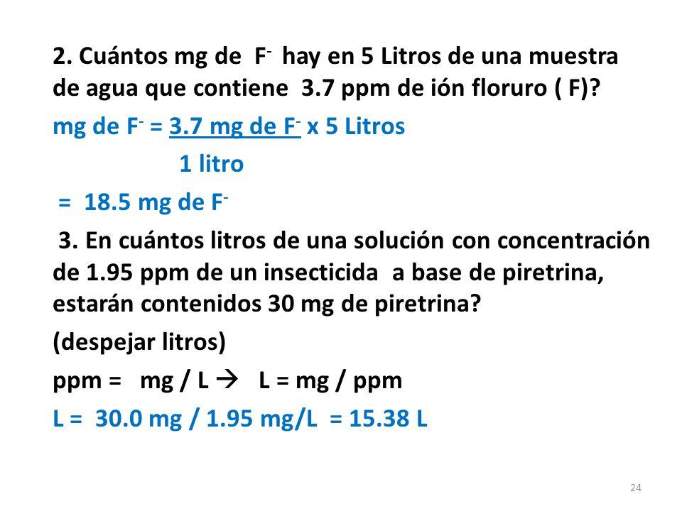 Ejercicios: 1.Calcule % p/p de una solución preparada con 25g KCl y 125 g de H 2 0.