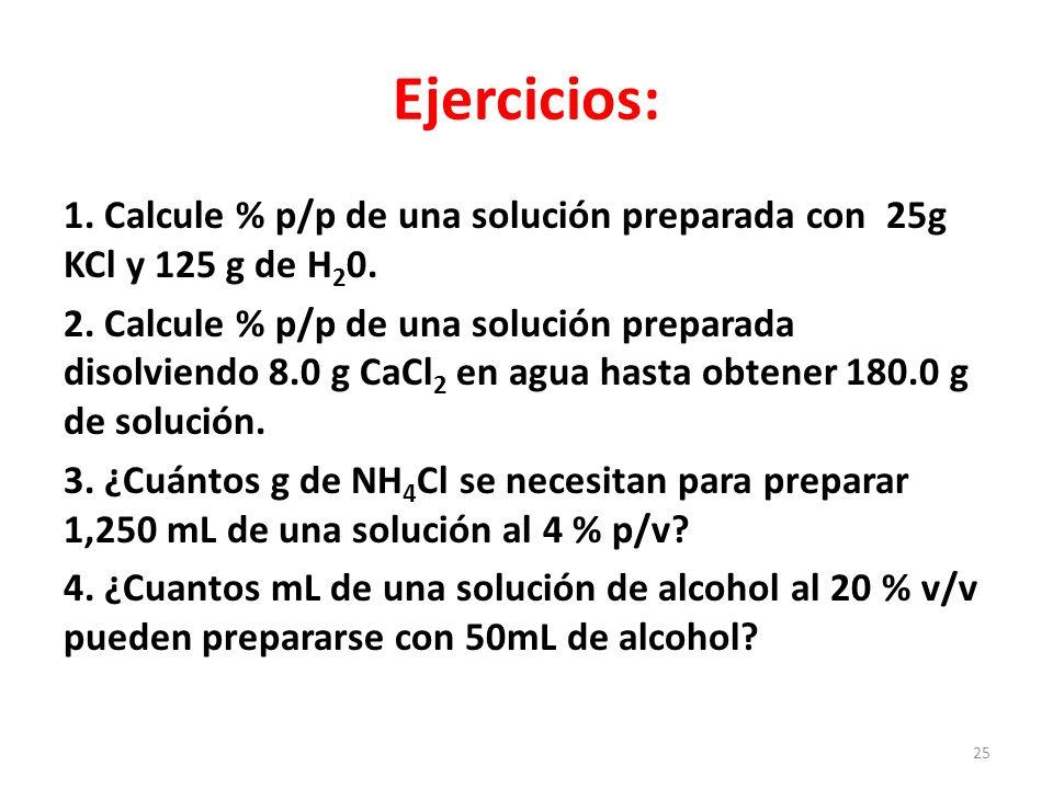 5.¿Cuál es el % p/v de una solución que contiene 65 g de H 2 SO 4 en 400mL de solución.