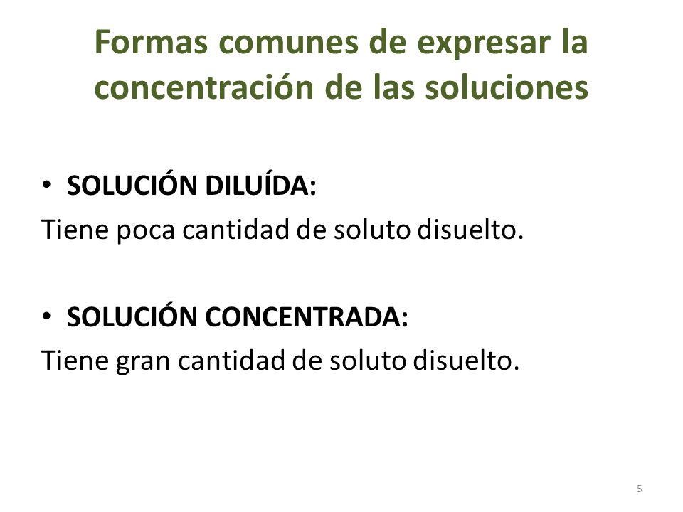 Formas de expresar la concentración de una solución según su saturación SOLUCIÓN INSATURADA: Es la que puede disolver fácilmente más cantidad de soluto de la que ya contiene disuelto.