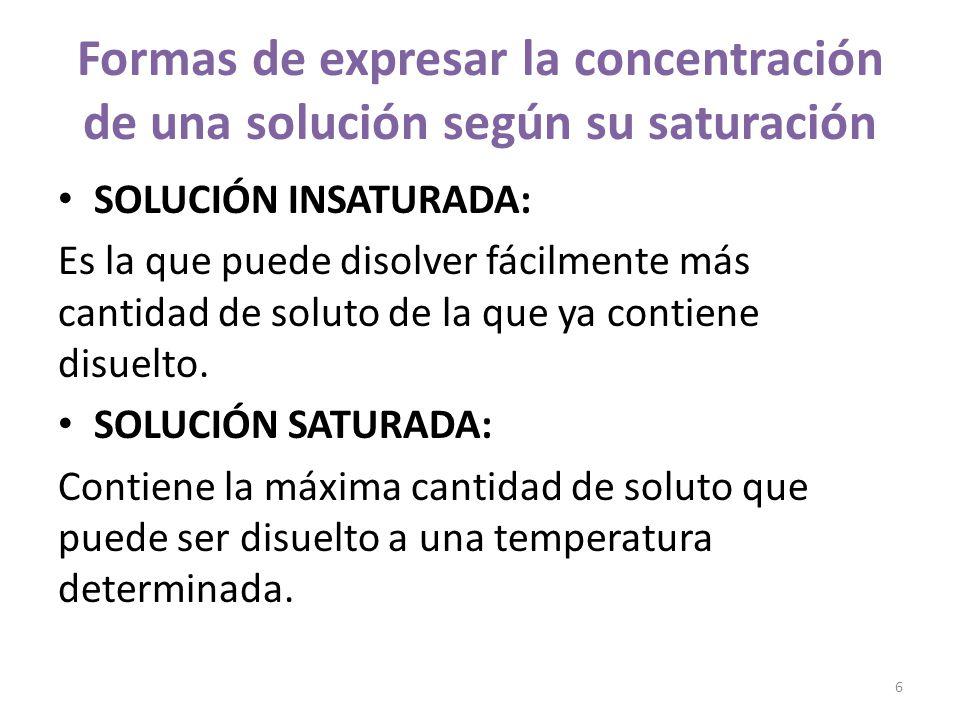 SOLUCIÓN SOBRESATURADA: Al elevar la temperatura, se puede disolver una mayor cantidad de soluto que el de saturación.