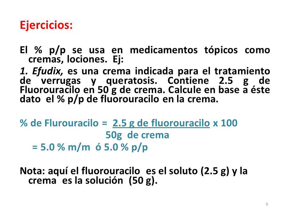 Ejercicios: El % p/p se usa en medicamentos tópicos como cremas, lociones.