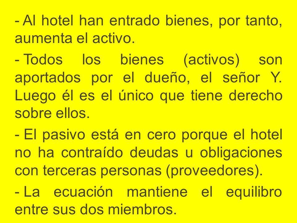 - Al hotel han entrado bienes, por tanto, aumenta el activo. - Todos los bienes (activos) son aportados por el dueño, el señor Y. Luego él es el único
