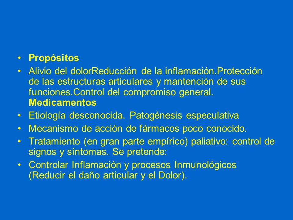 Propósitos Alivio del dolorReducción de la inflamación.Protección de las estructuras articulares y mantención de sus funciones.Control del compromiso general.
