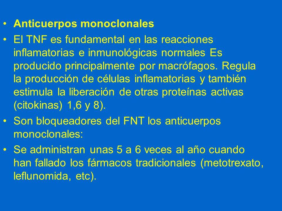 Anticuerpos monoclonales El TNF es fundamental en las reacciones inflamatorias e inmunológicas normales Es producido principalmente por macrófagos.