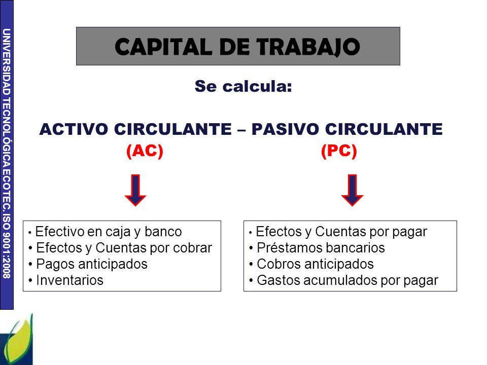UNIVERSIDAD TECNOLÓGICA ECOTEC. ISO 9001:2008 CAPITAL DE TRABAJO Se calcula: ACTIVO CIRCULANTE – PASIVO CIRCULANTE (AC) (PC) Efectivo en caja y banco