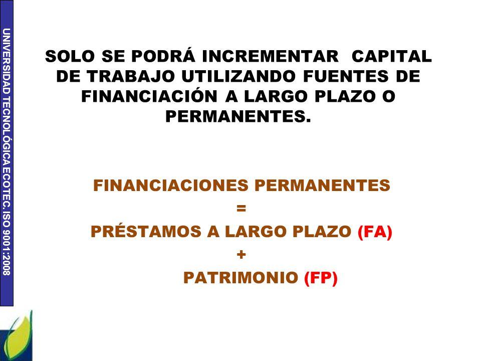 UNIVERSIDAD TECNOLÓGICA ECOTEC. ISO 9001:2008 SOLO SE PODRÁ INCREMENTAR CAPITAL DE TRABAJO UTILIZANDO FUENTES DE FINANCIACIÓN A LARGO PLAZO O PERMANEN